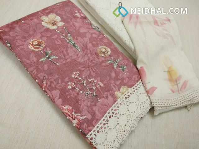 Premium Floral printed Onion Pink Liquid Fabric Cotton Unstitched salwar material(requires lining) with french knot work on front side, golden prints, chigan work on kadhi cotton bottom, floral printed chiffon dupatta with lace tapings.