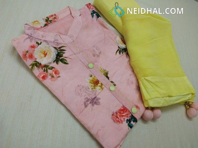 Designer Peachish Pink Pashmina linen unstitched Salwar material with Neck patten, Plain Back Side, Drum Dyed Yellow cotton bottom, Yellow Chiffon  dupatta with fancy tassels.