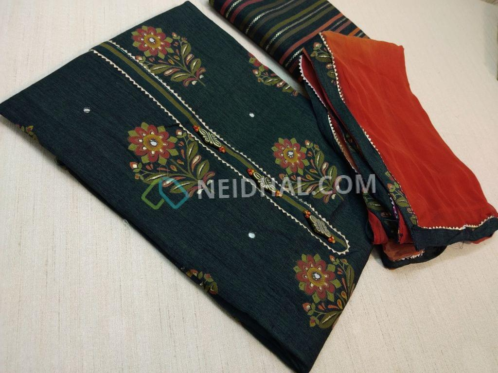Floral printed Greyish Blue Liquid Fabric(flowy fabric) unstitched Salwar material(requires lining) with facny buttons, golden prints, Faux mirror work on front side, liquid fabric printed bottom, multi color chiffon dupatta with tapping