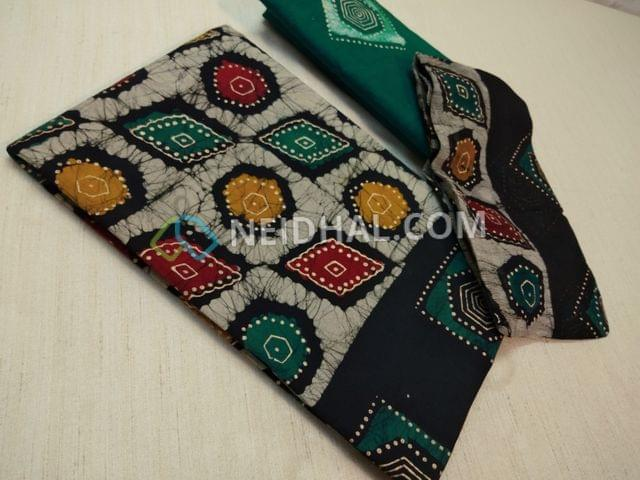 Premium wax Batik Printed Black Cotton Unstitched salwar material(requires lining) with Golden prints, plain back,Green Wax batik soft drum dyed cotton bottom, batik pure chiffon dupatta(requires taping)