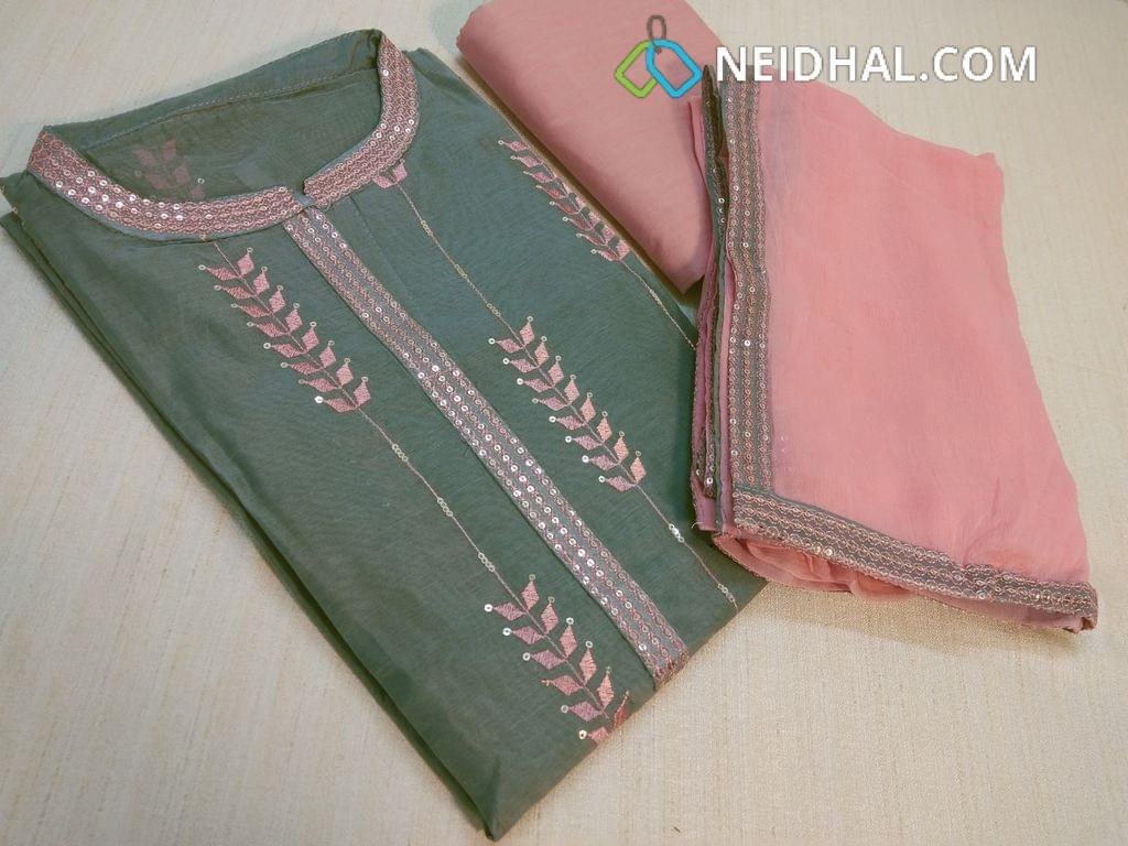 Designer Grey Silk Cotton unstitched Salwar material(requires lining) with neck patten,  thread and Sequins work on front side, plain back side, Pink cotton bottom, Pink chiffon dupatta with tapings,
