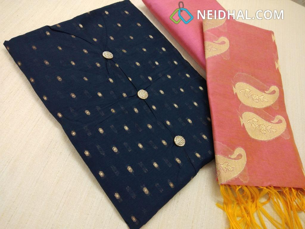 Blue Silk Cotton unstitched Salwar material(requires lining) with fancy button, Peachish pink Silk Cotton bottom, Peachish Pink Benaras weaving Silk cotton dupatta with tassels
