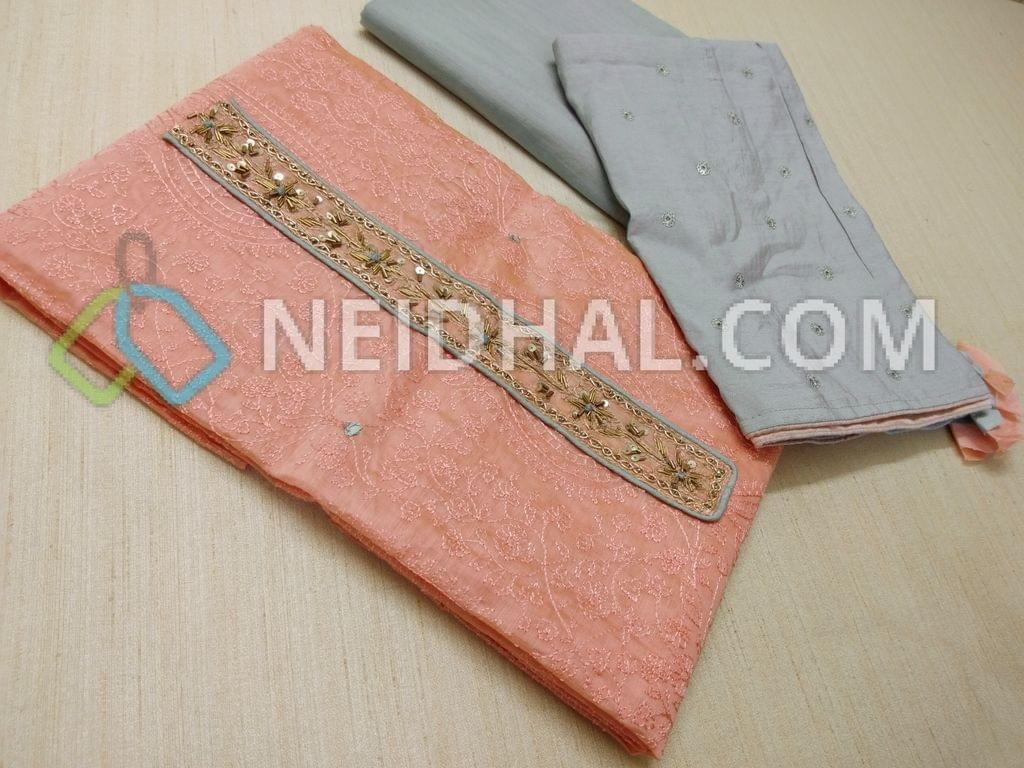 Designer Peachish Pink Chanderi Unstitched salwar material(requires lining) with Sequins, pipe, french knot hand work on yoke, Heavy embroidery work on front side, Plain back, Grey cotton drum dyed bottom, Grey masleen Silk dupatta with Sequins work patterns