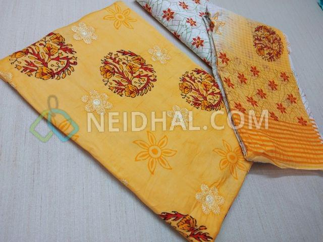 Designer Block printed Yellow Cotton unstitched Salwar material with thread work on front side, floral printed cotton bottom, floral printed cotton dupatta