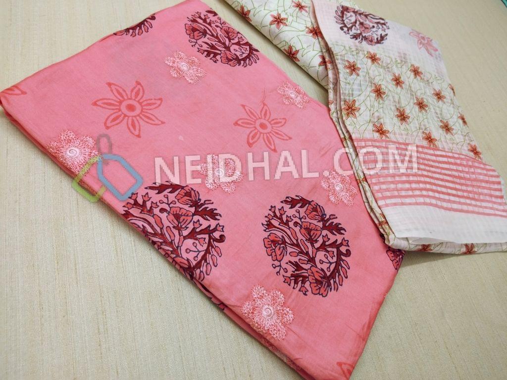 Designer Block printed Pink Cotton unstitched Salwar material with thread work on front side, floral printed cotton bottom, floral printed cotton dupatta
