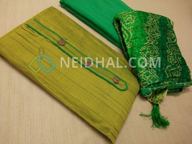 Designer Green Silk cotton unstitched salwar material(with lining) with fancy buttons, pintuck work on sides, plain back, Aqua blue cotton bottom, Bandhini printed Crush silk short width dupatta