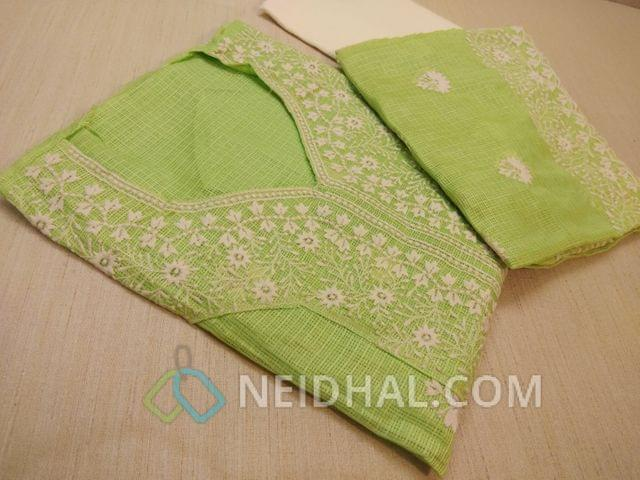 Premium Neon Green Kota cotton unstitched salwar material(requires lining) with Heavy thread work on yoke and on front side, plain back, Cream cotton bottom, Green Kota Cotton dupatta with Heavy thread work and lace border.