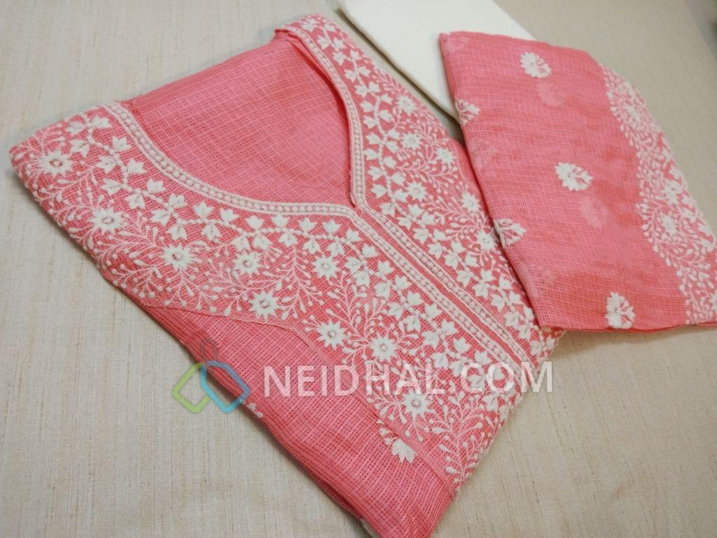 Premium Pink Kota cotton unstitched salwar material(requires lining) with Heavy thread work on yoke and on front side, plain back, Cream cotton bottom, Pink Kota Cotton dupatta with Heavy thread work and lace border.