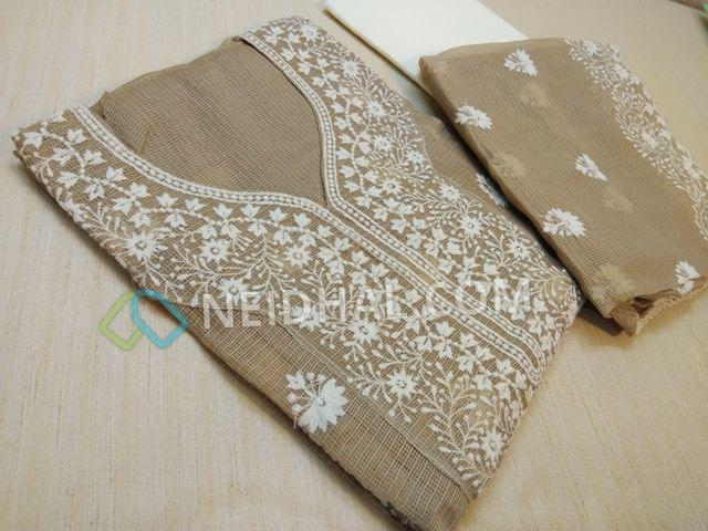 Premium Dark Beige Kota cotton unstitched salwar material(requires lining) with Heavy thread work on yoke and on front side, plain back, Cream cotton bottom, Dark Beige Kota Cotton dupatta with Heavy thread work and lace border.