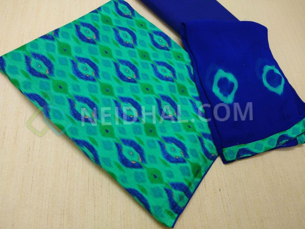 Printed Multicolor Modal Fabric(flowy fabric) unstitched salwar material(requires lining) , Blue cotton bottom, Printed Blue chiffon dupatta with taping