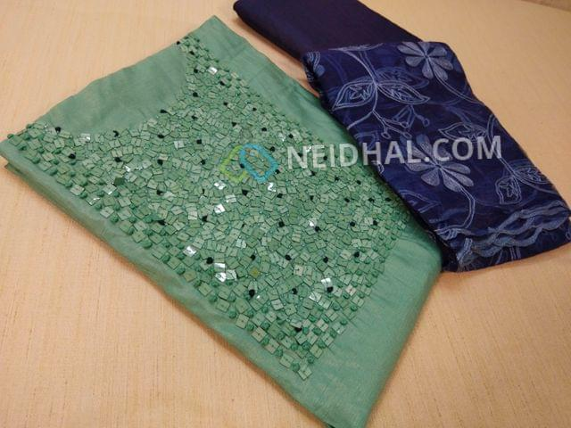 Designer Sea Blue Shimmer type Unsitched salwar material(thin fabric requires lining) with heavy bead, french knot and hand work on yoke, daman patch, Blue cotton bottom, Blue super net dupata with heavy thread work (Taping might be required)