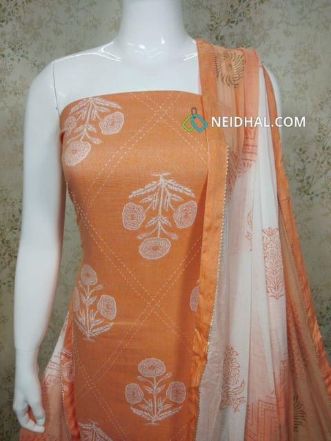 Printed Orange Liquid fabric(flowy fabric) unstitched salwar material with stitch work on front side, printed Cotton bottom, Dual color chiffon dupatta with tapings