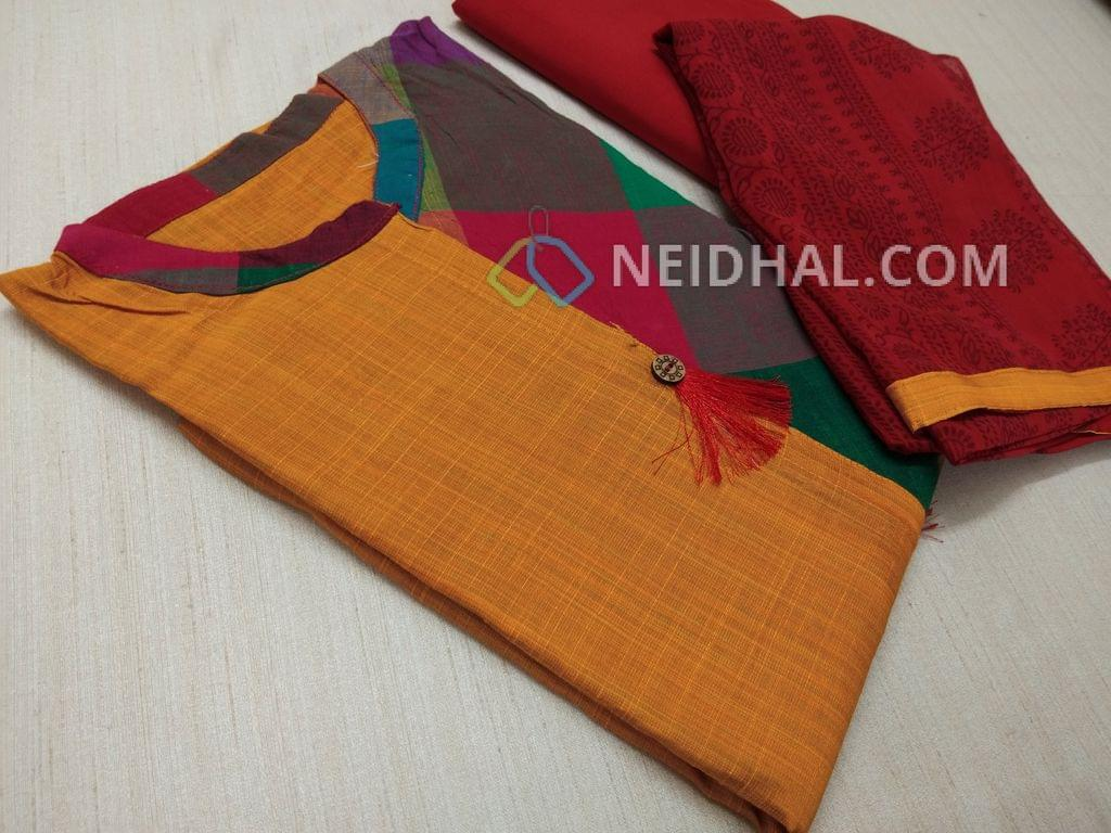 Golden Yellow silk Cotton unstitched salwar material(requires lining) with stitched collar, half side Multi color cotton, Red cotton bottom, Block printed chiffon dupatta with taping