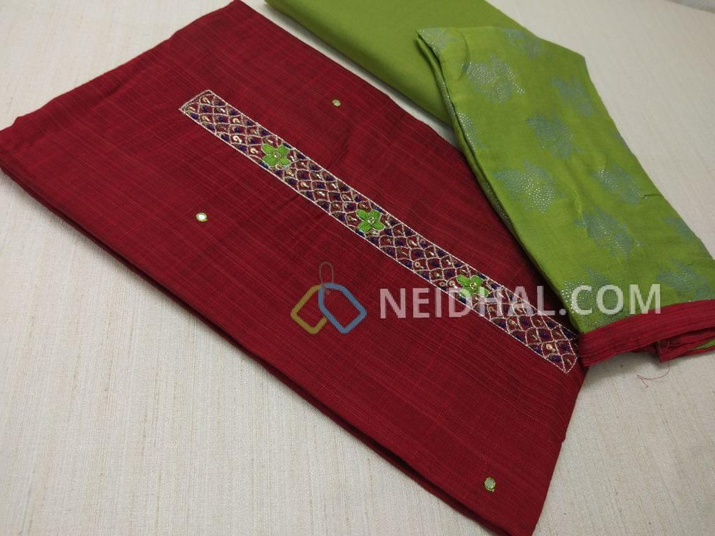 Maroonish Red Silk Cotton unsitched salwar material(requires lining) with thread, sequins and pipe work on yoke, daman patch, Green cotton bottom, dew drops work on Green chiffon dupatta.