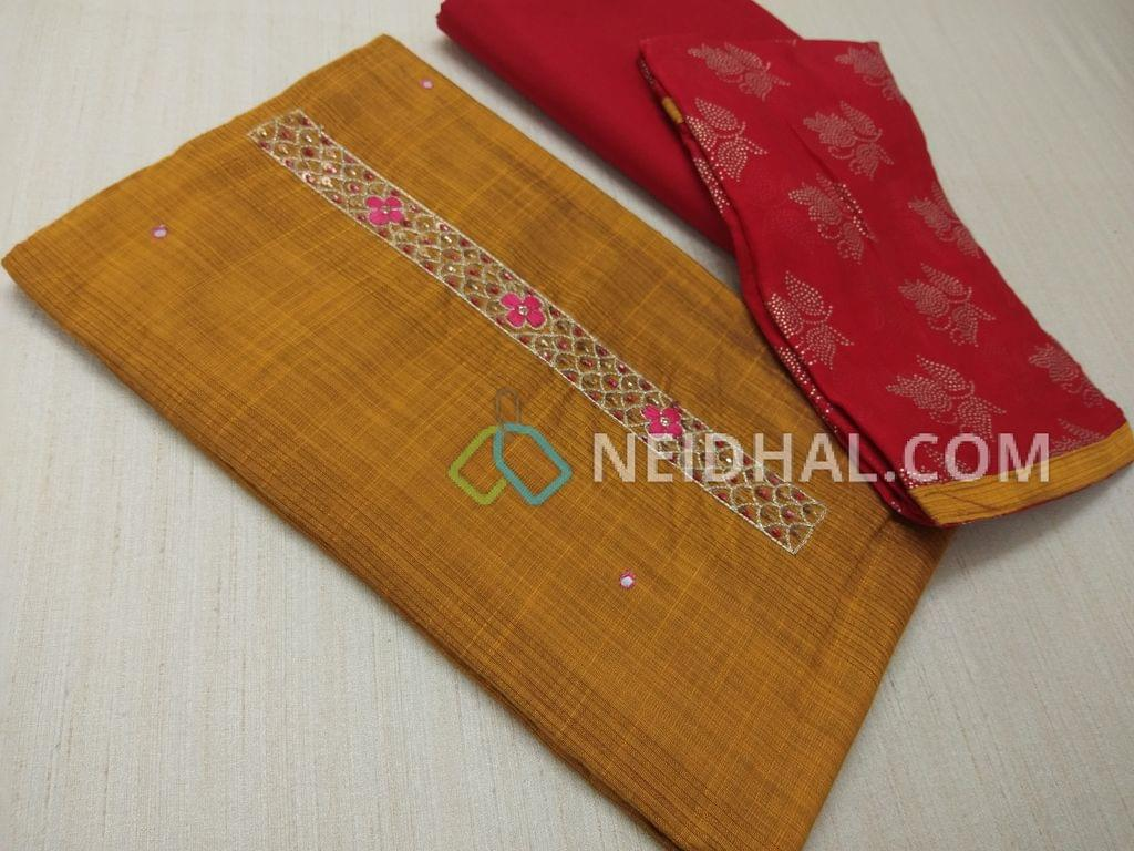Yellow Silk Cotton unsitched salwar material(requires lining) with thread, sequins and pipe work on yoke, daman patch, Red cotton bottom, dew drops work on Red chiffon dupatta.