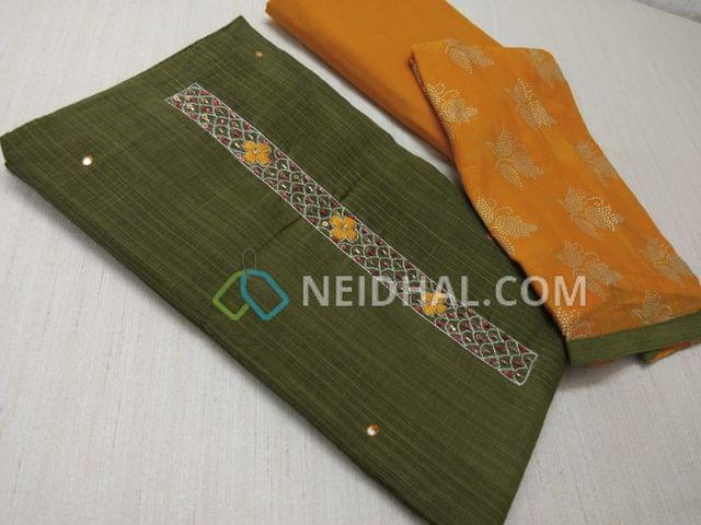 Green Silk Cotton unsitched salwar material(requires lining) with thread, sequins and pipe work on yoke, daman patch, Yellow cotton bottom, dew drops work on Yellow chiffon dupatta.