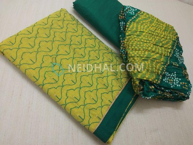 Mehandi Green unstitched salwar material(requries lining) with heavy thread work on front side, plain back, daman patch, Green silk cotton bottom, bandhini printed chiffon dupatta with tassels