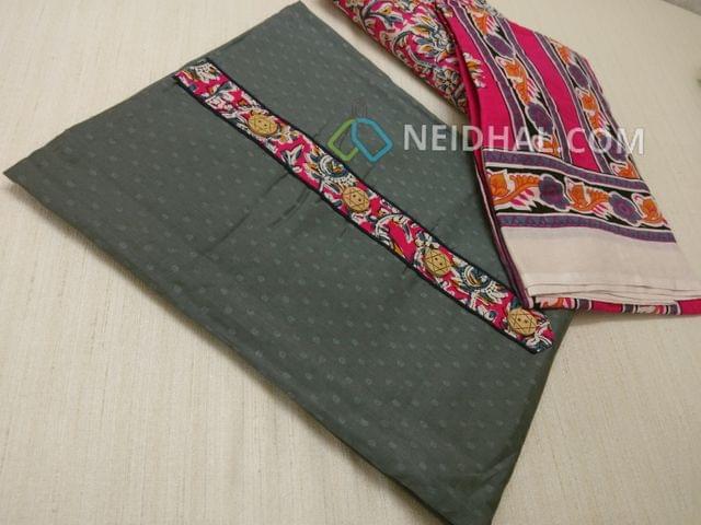 Grey Jaquard cottonn unsitched salwar material with Kalamkari yoke patch, daman patch, Pink Kalamkari cotton bottom, Printed cotton dupatta