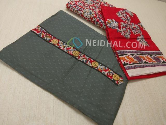 Grey Jaquard cottonn unsitched salwar material with Kalamkari yoke patch, daman patch, Red Kalamkari cotton bottom, Printed cotton dupatta
