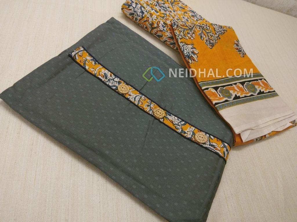 Grey Jaquard cottonn unsitched salwar material with Kalamkari yoke patch, daman patch, Yellow Kalamkari cotton bottom, Printed cotton dupatta