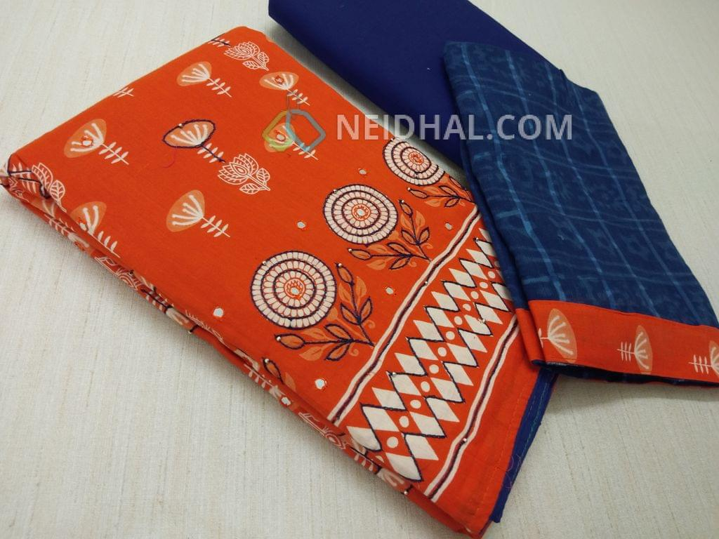 Printed Orange Soft Cotton unsitched salwar material(lining required) with thread work on front side, Blue cotton bottom, printed Blue cotton dupatta with taping