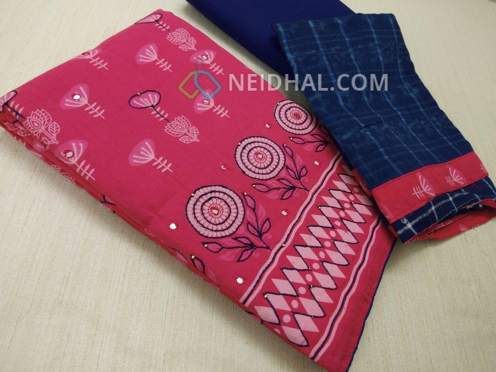 Printed Pink Soft Cotton unsitched salwar material(lining required) with thread work on front side, Blue cotton bottom, printed Blue cotton dupatta with taping