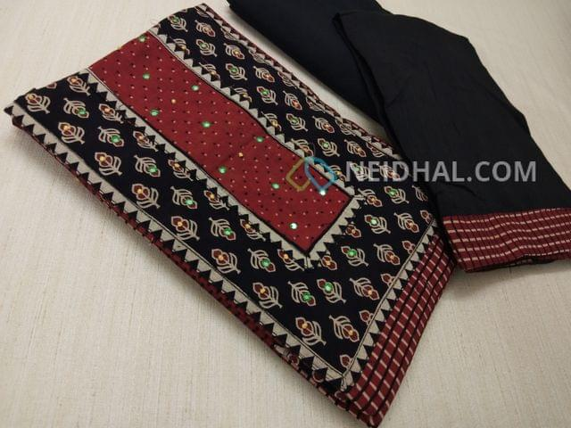 Premium Ajrak Printed Maroon Cotton Unstitched salwar material(requires lining) with thread and foil mirror work on yoke, black cotton bottom, black mul cotton dupatta with tapings