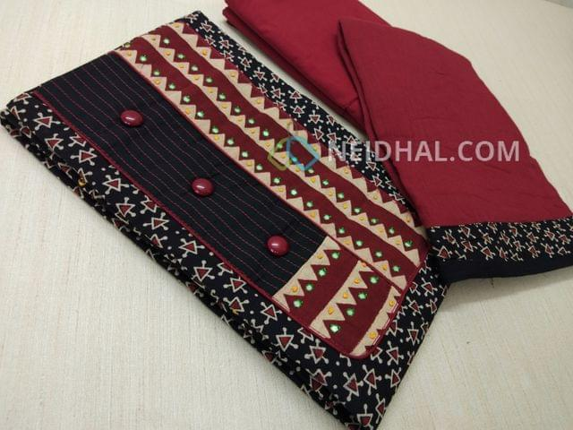 Premium Ajrak Printed Black Cotton Unstitched salwar material(requires lining) with thread and foil mirror work on yoke, fancy buttons, maroon cotton bottom, maroon mul cotton dupatta with tapings