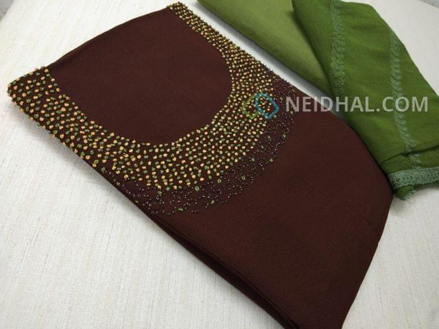 Designer Brown Georgette unsitched salwar material(requires lining) with Heavy french knot, thread and bead work on yoke, daman taping, Green Silk cotton bottom, Heavy thread and sequins work on green Chiffon duaptta with laces.