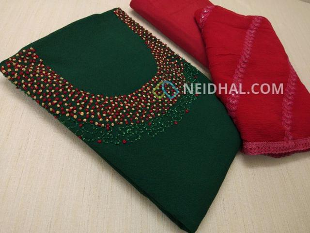 Designer Green Georgette unsitched salwar material(requires lining) with Heavy french knot, thread and bead work on yoke, daman taping, Pink Silk cotton bottom, Heavy thread and sequins work on Pink Chiffon duaptta with laces.