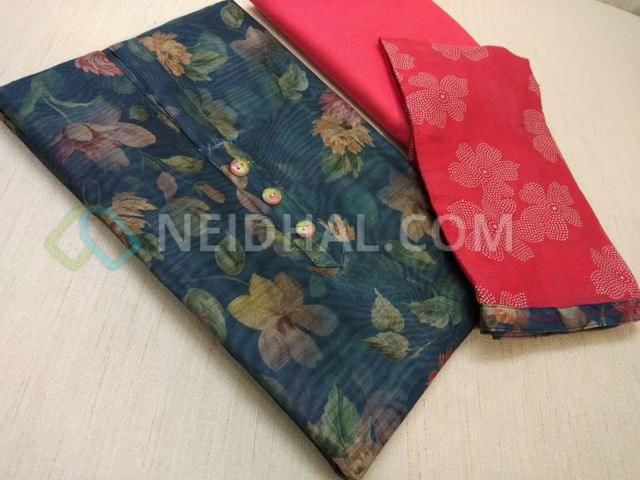 Digital Printed BlueSilk Cotton UnStitched (requires lining) salwar material with buttons on yoke, Pink cotton bottom, Pink chiffon dupatta with floral dew drops work and taping.