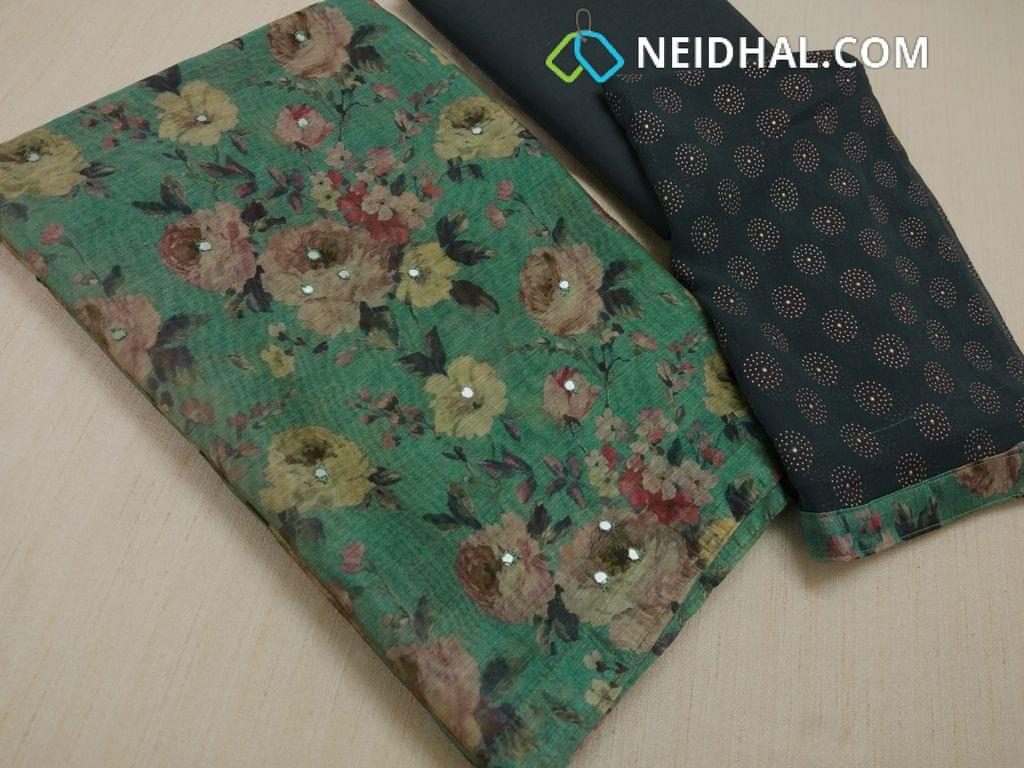 Digital Floral printed Green unstitched salwar material(requires lining) with faux mirror work on front side, Greyish blue Cotton bottom, Greyish Blue chiffon dupatta with dew drop work and taping