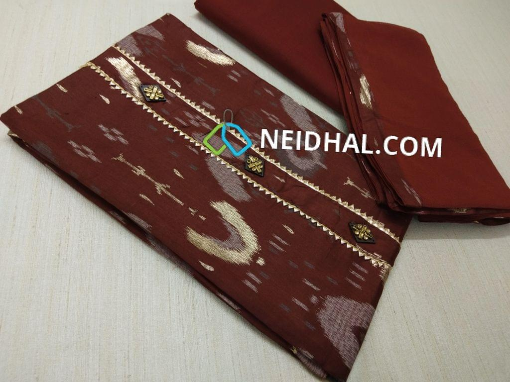 Maroon Printed Satin cotton unstitched salwar material(requires lining) with fancy buttons, daman patch, Maroon cotton bottom, Maroon chiffon dupatta wiht tapings.