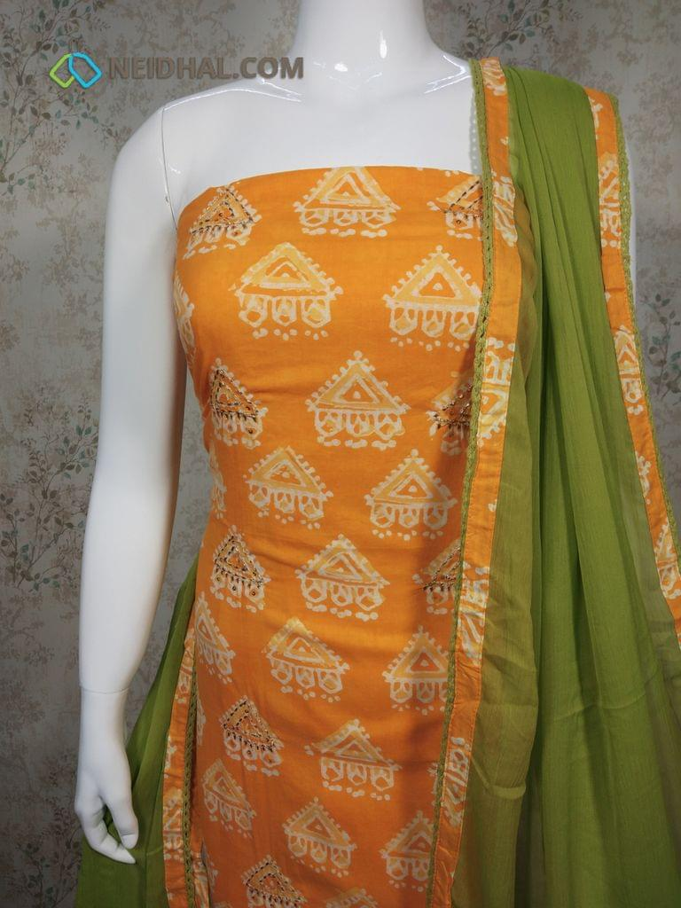 Printed Yellow Cotton Unstitched Salwar Material with zari thread, sequence work on front side,  green cotton bottom, green chiffon dupatta with tapings.
