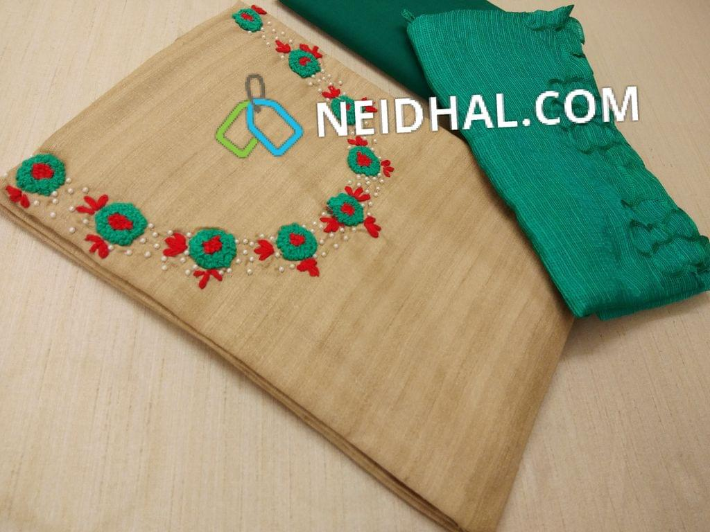 Silver Beige Slub Silk Cotton unstitched salwar material(requires lining) with Bead work, thread work on yoke, Green cotton bottom, Green kota dupatta with cut work tapings and thread work.