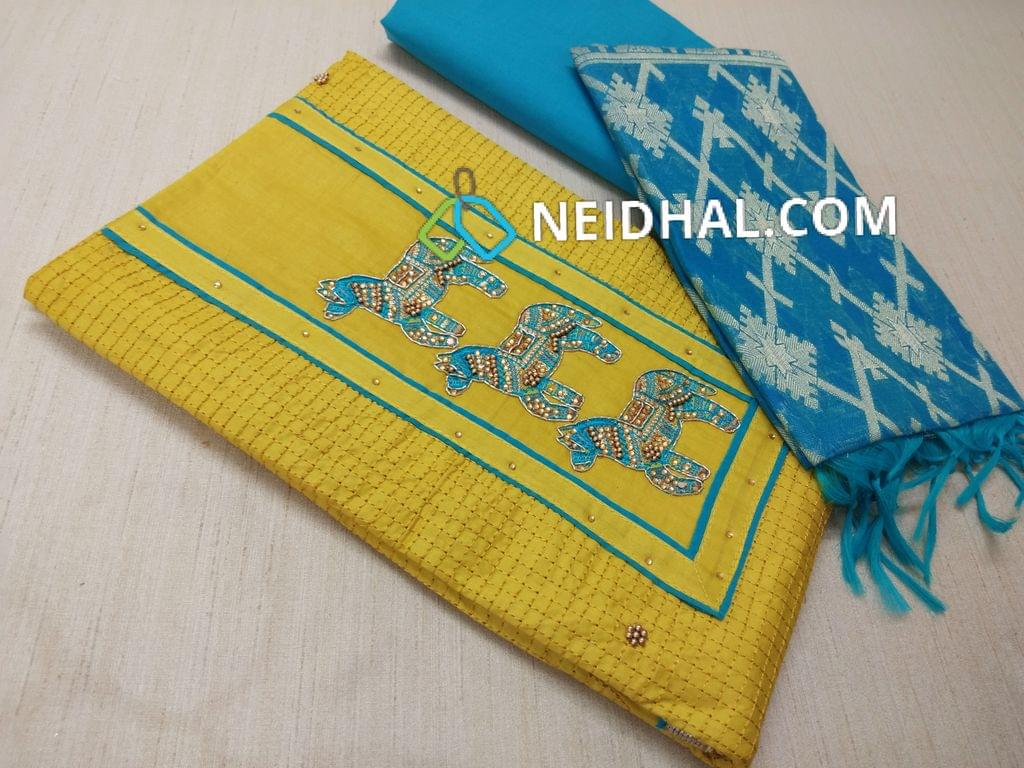 Mehandi Green Cotton unstitched salwar material(Requires lining) with thread bead work on yoke, embroidery patterns on front side, plain back, Blue cotton bottom, Blue Silk Cotton Benarasi weaving duptta with tassels.(DUPPATA NEW DESIGN)
