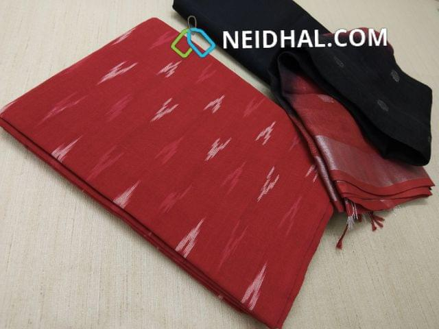 Designer 2.5 Metres Red Pure ikkat cotton unstitched Salwar material, 2.5 metre soft silk cotton bottom (both top and cotton bottom can be interchanged), Silver zari weaving Pure Linen dupatta with tassels