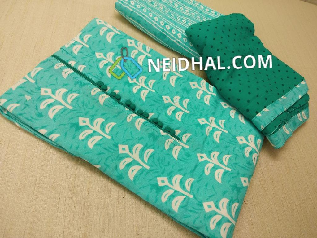 Printed Blue Modal Unstitched salwar material(requires lining) with potli buttons on yoke, Printed blue Modal bottom, Printed green chiffon dupatta with tapings,