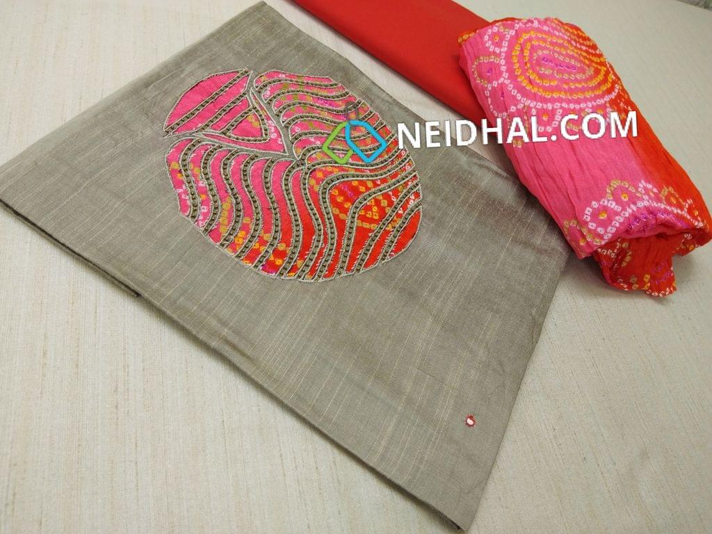 Silver Grey Dupian Silk Cotton unstitched salwar material with patch work and bead work on yoke, Pink Cotton bottom, Colorful bandhini printed crush dupatta