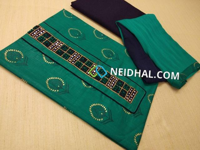 Printed Teal Blue Slub Cotton unstitched salwar material(requries lining) with French knot work, faux mirror work on yoike, dual color chiffon dupatta with taping.