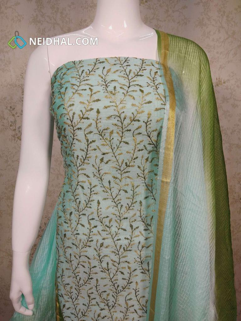 Premium Blue Silk Cotton UnStitched salwar material(requires lining) with Heavy Embroidery work on front side, plain back Side, green Cotton bottom, Dual Color silk cotton dupatta with tassels