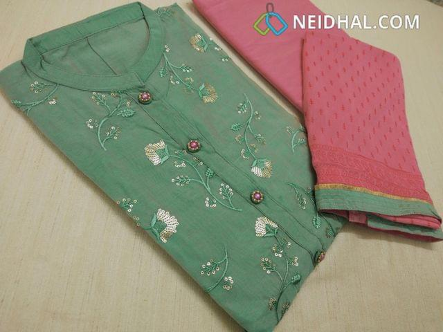 Designer Turquoise Green Silk Cotton unstitched salwar material(requires lining) with neck stitched, sequins and thread work on front side, fancy stone and bead buttons, daman patch, Peachish pink Silk cotton bottom, printed peachish pink pure chiffon dupatta with tapings.