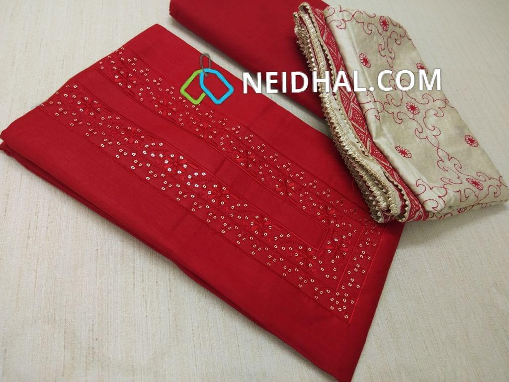 Red Satin Cotton unstitched salwar material with Thread and sequins work on yoke, Red cotton bottom, Heavy thread work on soft beige silk cotton dupatta with taping