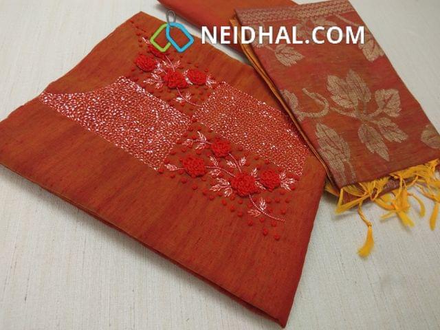 Designer Dark Orange Slub Silk Cotton(requires lining) unstitched salwar materials, with pipe and thread work on yoke, Silk Cotton Bottom, Benaras weaving Silk Cotton dupatta with tassels.