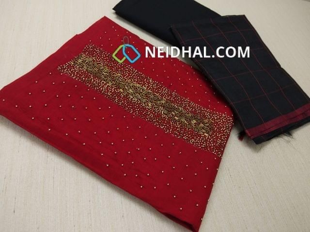 Designer Red Silk Cotton Unstitched Salwar material(requires lining) with Bead and Pipe hand work on yoke, Black cotton bottom, Checked Black Silk cotton dupatta with tassels.