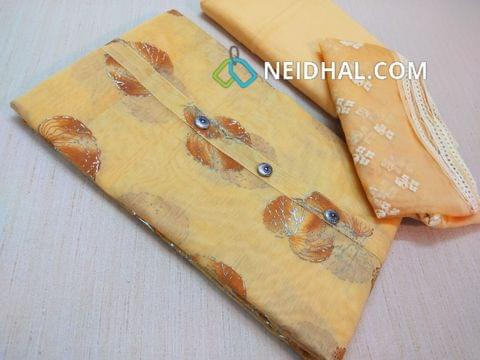 Floral Printed Yellow Silk cotton unstiched salwar material(requires lining) with fancy buttons on yoke, Yellow thin soft cotton bottom, Yellow Organza dupatta with thread work and lace taping