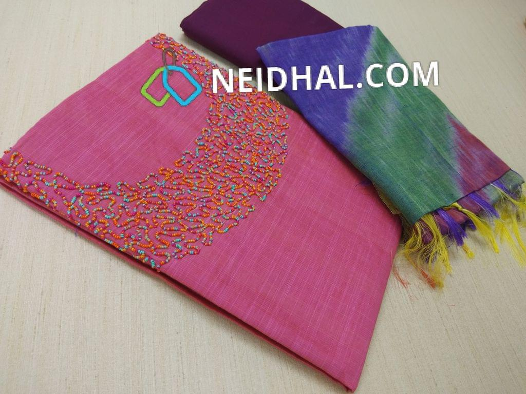 Pink Silk Cotton Unstitched Salwar material(requires lining) with heavy colorful work on yoke, Purple Cotton bottom, Multicolor tabby weaving dupatta ( Need to remove tassels and stitch taping)