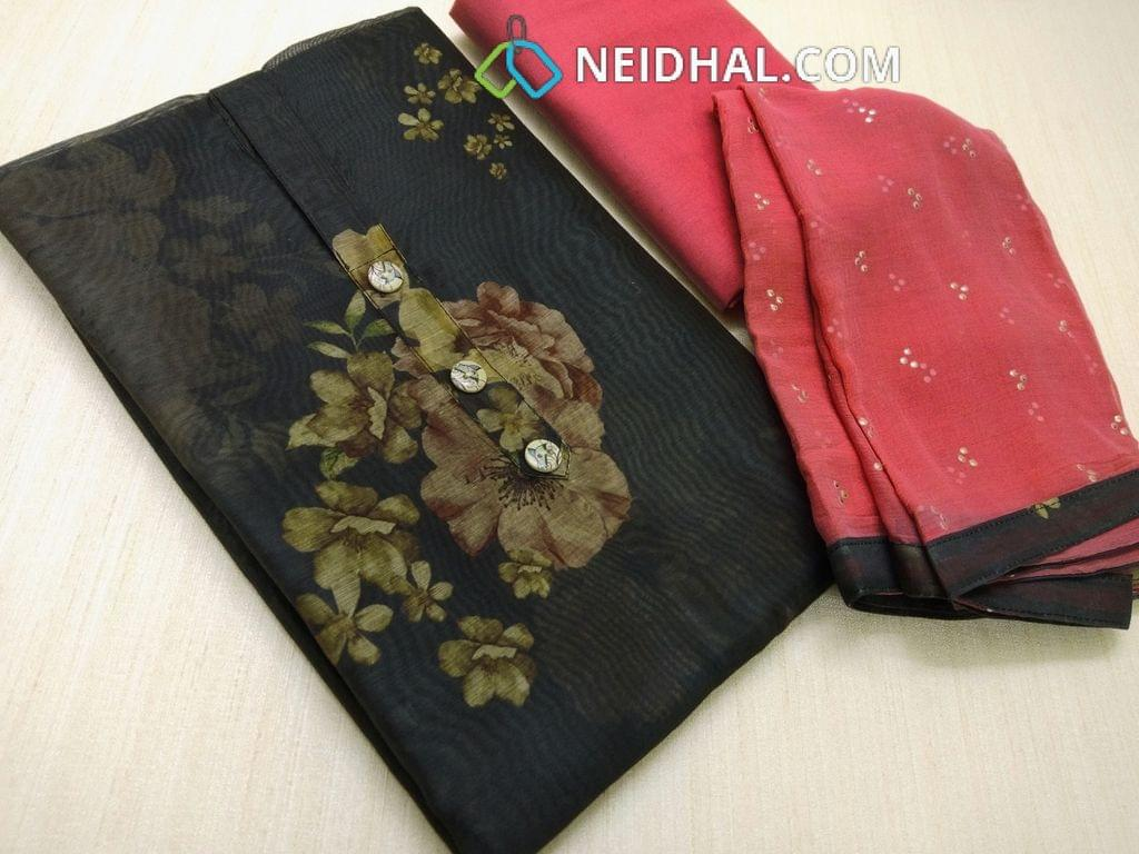 Abstract Printed Black Silk Cotton Unstitched salwar material(requires lining) with buttons on yoke, Dark peachish Pink cotton bottom, Golden Dew drops on Dark peachish Pink chiffon dupatta with tapings.