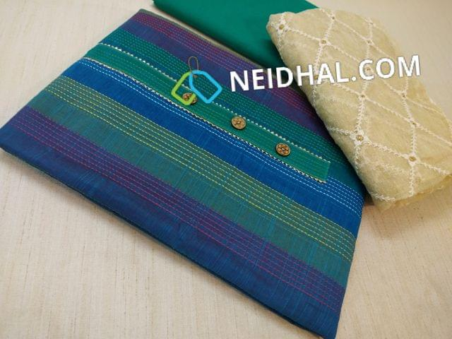 Blue Silk Cotton unstitched salwar material(requires lining) with placket, Green cotton bottom, Beige kora silk cotton dupatta with taping