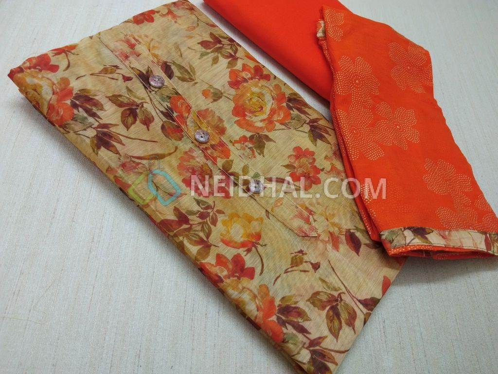 Digital Printed Beige Silk Cotton UnStitched salwar material(requires lining) with buttons on yoke, Orange cotton bottom, Orange chiffon dupatta with floral dew drops work and taping.
